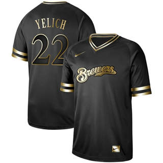 Men's Brewers #22 Christian Yelich Black Gold  Stitched Baseball Jersey