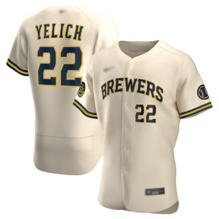 Men's Brewers #22 Christian Yelich Cream Authentic Alternate Stitched Baseball Jersey