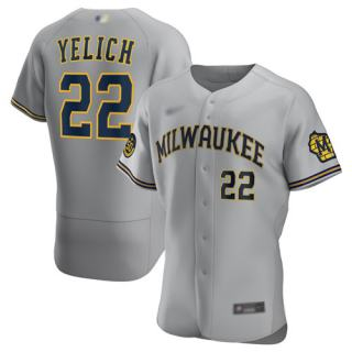 Men's Brewers #22 Christian Yelich Gray Authentic Road Stitched Baseball Jersey