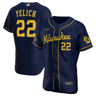 Men's Brewers #22 Christian Yelich Navy Authentic Alternate Stitched Baseball Jersey