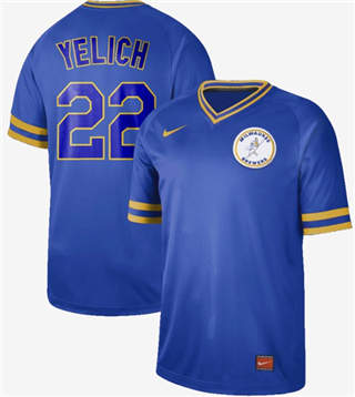 Men's Brewers #22 Christian Yelich Royal  Cooperstown Collection Stitched Baseball Jersey