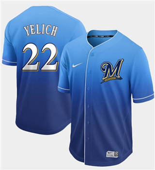 Men's Brewers #22 Christian Yelich Royal Fade  Stitched Baseball Jersey