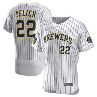 Men's Brewers #22 Christian Yelich White Strip Authentic Home Stitched Baseball Jersey