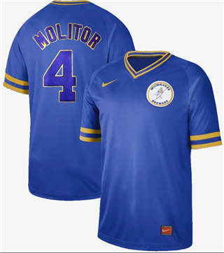 Men's Brewers #4 Paul Molitor Royal  Cooperstown Collection Stitched Baseball Jersey