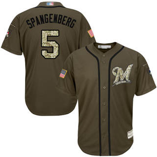 Men's Brewers #5 Cory Spangenberg Green Salute to Service Stitched Baseball Jersey