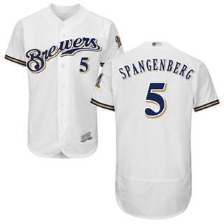 Men's Brewers #5 Cory Spangenberg White Flexbase  Collection Stitched Baseball Jersey