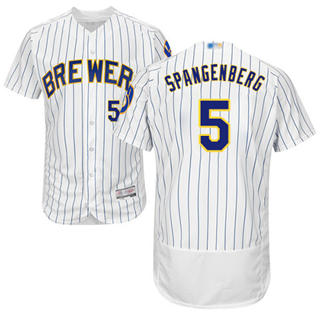 Men's Brewers #5 Cory Spangenberg White Strip Flexbase  Collection Stitched Baseball Jersey