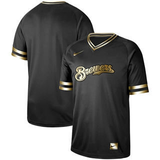 Men's Brewers Blank Black Gold  Stitched Baseball Jersey