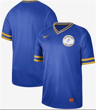 Men's Brewers Blank Royal  Cooperstown Collection Stitched Baseball Jersey