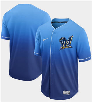 Men's Brewers Blank Royal Fade  Stitched Baseball Jersey