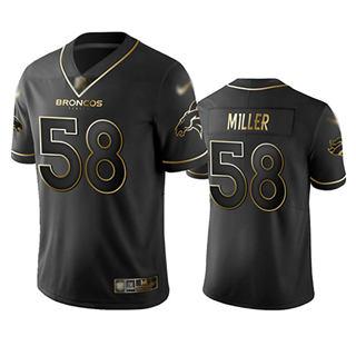 Men's Broncos #58 Von Miller Black Stitched Football Limited Golden Edition Jersey