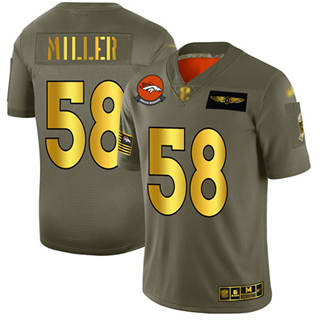 Men's Broncos #58 Von Miller Camo Gold Stitched Football Limited 2019 Salute To Service Jersey