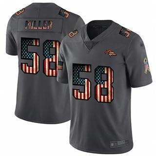 Men's Broncos #58 Von Miller Carbon Black Stitched Football Limited Retro Flag Jersey