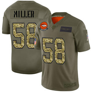 Men's Broncos #58 Von Miller Olive Camo Stitched Football Limited 2019 Salute To Service Jersey