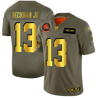 Men's Browns #13 Odell Beckham Jr Camo Gold Stitched Football Limited 2019 Salute To Service Jersey