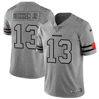 Men's Browns #13 Odell Beckham Jr Gray Stitched Football Limited Team Logo Gridiron Jersey