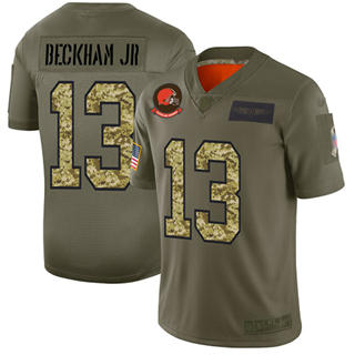 Men's Browns #13 Odell Beckham Jr Olive Camo Stitched Football Limited 2019 Salute To Service Jersey