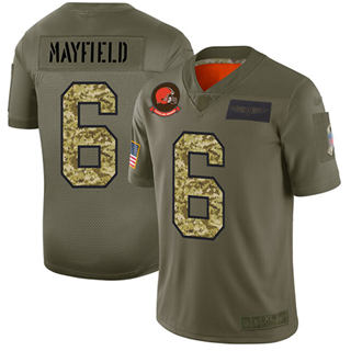 Men's Browns #6 Baker Mayfield Olive Camo Stitched Football Limited 2019 Salute To Service Jersey