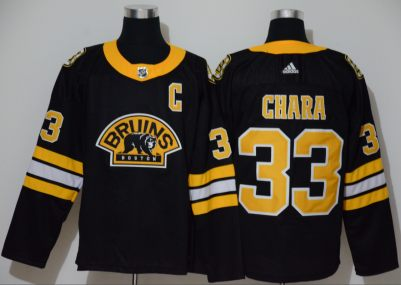 Men's Bruins #33 Zdeno Chara Black Authentic 3D Throwback Stitched Hockey Jersey