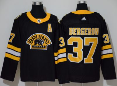 Men's Bruins #37 Patrice Bergeron Black Authentic 3D Throwback Stitched Hockey Jersey