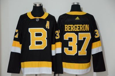 Men's Bruins #37 Patrice Bergeron Black Throwback Authentic Stitched Hockey Jersey