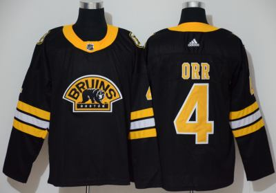 Men's Bruins #4 Bobby Orr Black Authentic 3D Throwback Stitched Hockey Jersey