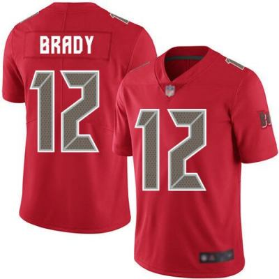 Men's Buccaneers #12 Tom Brady Red Stitched Football Limited Color Rush Jersey