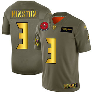 Men's Buccaneers #3 Jameis Winston Camo Gold Stitched Football Limited 2019 Salute To Service Jersey