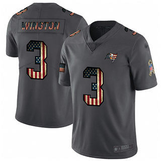 Men's Buccaneers #3 Jameis Winston Carbon Black Stitched Football Limited Retro Flag Jersey