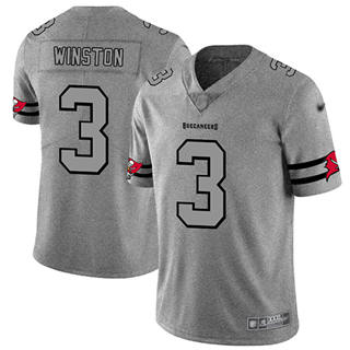 Men's Buccaneers #3 Jameis Winston Gray Stitched Football Limited Team Logo Gridiron Jersey