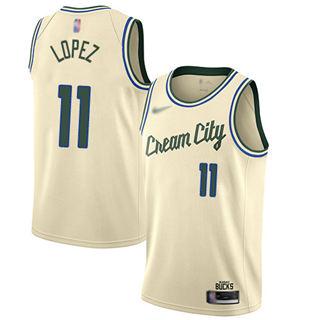 Men's Bucks #11 Brook Lopez Cream Basketball Swingman City Edition 2019-2020 Jersey