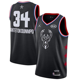 Men's Bucks #34 Giannis Antetokounmpo Black Basketball Jordan Swingman 2019 All-Star Game Jersey