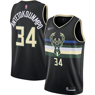 Men's Bucks #34 Giannis Antetokounmpo Black Basketball Swingman Statement Edition 2019-2020 Jersey