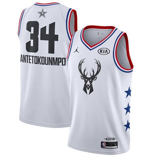 Men's Bucks #34 Giannis Antetokounmpo White Basketball Jordan Swingman 2019 All-Star Game Jersey