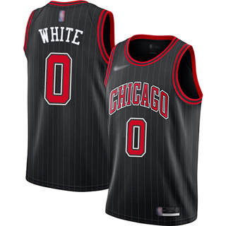 Men's Bulls #0 Coby White Black Basketball Swingman Statement Edition 2019-2020 Jersey