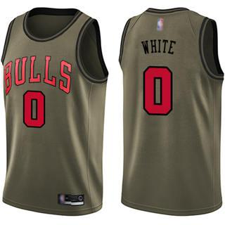 Men's Bulls #0 Coby White Green Basketball Swingman Salute to Service Jersey