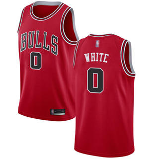 Men's Bulls #0 Coby White Red Basketball Swingman Icon Edition Jersey