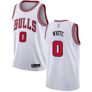 Men's Bulls #0 Coby White White Basketball Swingman Association Edition Jersey