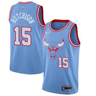 Men's Bulls #15 Chandler Hutchison Blue Basketball Swingman City Edition 2019-2020 Jersey