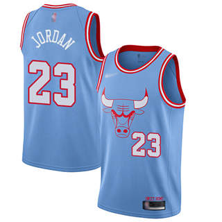Men's Bulls #23 Michael Jordan Blue Basketball Swingman City Edition 2019-2020 Jersey
