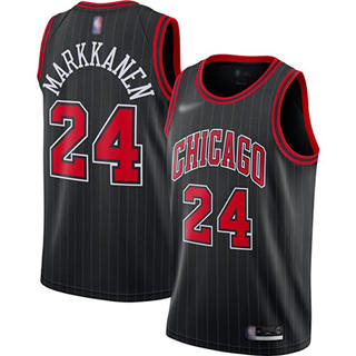 Men's Bulls #24 Lauri Markkanen Black Basketball Swingman Statement Edition 2019-2020 Jersey