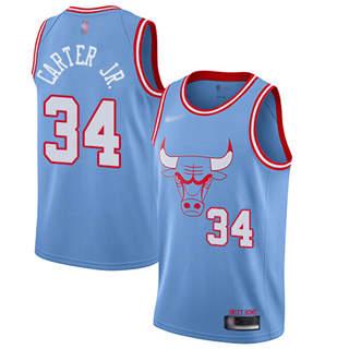 Men's Bulls #34 Wendell Carter Jr. Blue Basketball Swingman City Edition 2019-2020 Jersey
