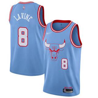 Men's Bulls #8 Zach LaVine Blue Basketball Swingman City Edition 2019-2020 Jersey
