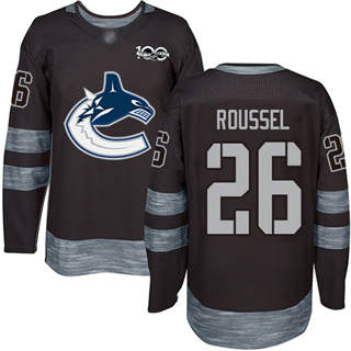Men's Canucks #26 Antoine Roussel Black 1917-2017 100th Anniversary Stitched Hockey Jersey
