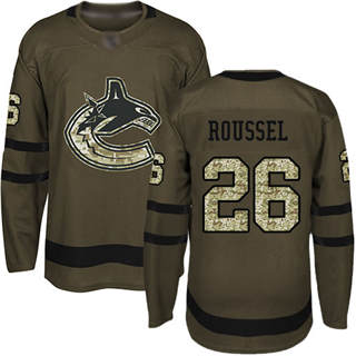 Men's Canucks #26 Antoine Roussel Green Salute to Service Stitched Hockey Jersey