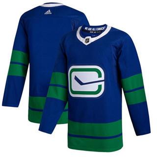 Men's Canucks Blank Blue Alternate Authentic Stitched Hockey Jersey