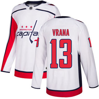 Men's Capitals #13 Jakub Vrana White Road Authentic Stitched Hockey Jersey