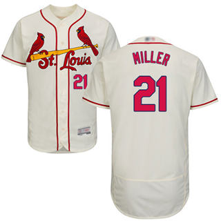 Men's Cardinals #21 Andrew Miller Cream Flexbase  Collection Stitched Baseball Jersey