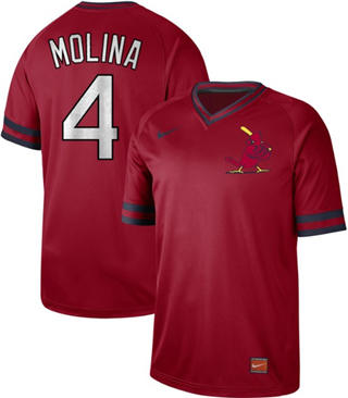 Men's Cardinals #4 Yadier Molina Red  Cooperstown Collection Stitched Baseball Jersey