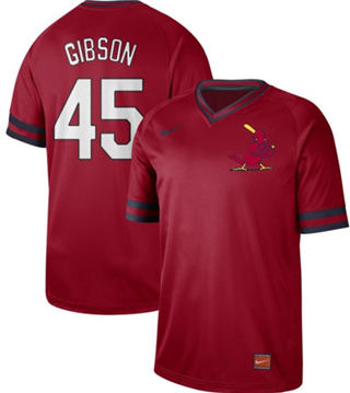 Men's Cardinals #45 Bob Gibson Red  Cooperstown Collection Stitched Baseball Jersey